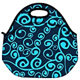 Snoogg Wave Pattern Seamlessly Tiling Seamless Wave Backgroundocean Texture Travel Outdoor Carry Lunch Bag Picnic Tote Box Container Zip Out Removable Carry Lunchbox Handle Tote Lunch Bag Food Bag For School Work Office