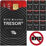 TRESOR® - RFID Schutzhülle Blocker Hülle 10er Set für Kreditkarten, Pass, Personalausweis, Ausweis, EC Karte - Sicherer Schutz Datenschutz vor RFID & NFC Datendiebstahl
