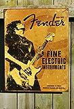 Fender Rock On Guitar Fine Electric Instruments Distressed Retro Vintage Tin Sign