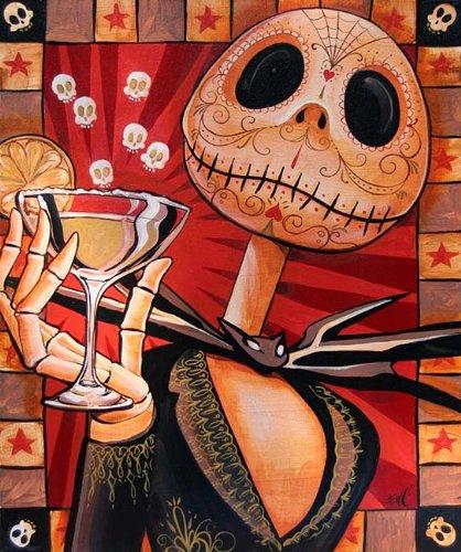 Jack Celebrates The Dead by Mike Bell Death Mask Skeleton Skellington Martini Giclee Art Print