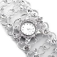 FACILLA? Women Ladies Rhinestones Silver Plated Alloy Bracelet Quartz Bangle Wrist Watch