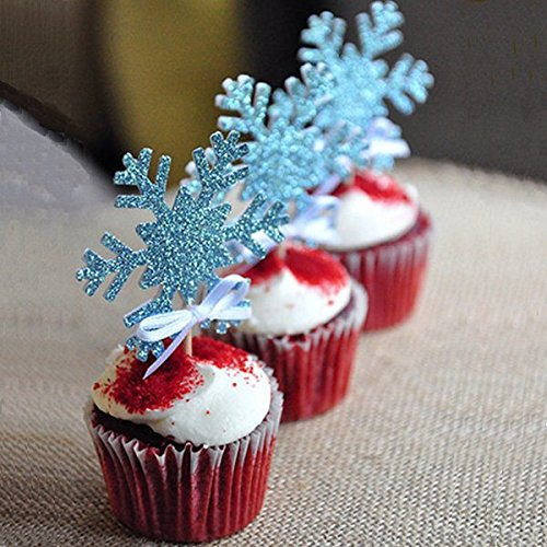 10PCS Christmas Snowflake Cupcake Topper Cake Party Decoration