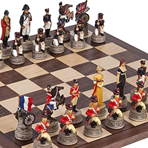Hand Painted Napoleon & the Duke of Wellington Chessmen & Stuyvesant Street Chess Board