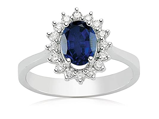 1.25 Carats 18k Solid White Gold Blue Sapphire and Diamond Engagement Wedding Bridal Promise Ring Band
