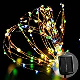 LUCKLED Outdoor Solar Powered String Lights - 120 LED Multi Color Fairy Starry Copper Wire Rope lights for Indoor - Garden - Home - Wedding - Christmas Party and Holiday Decorations