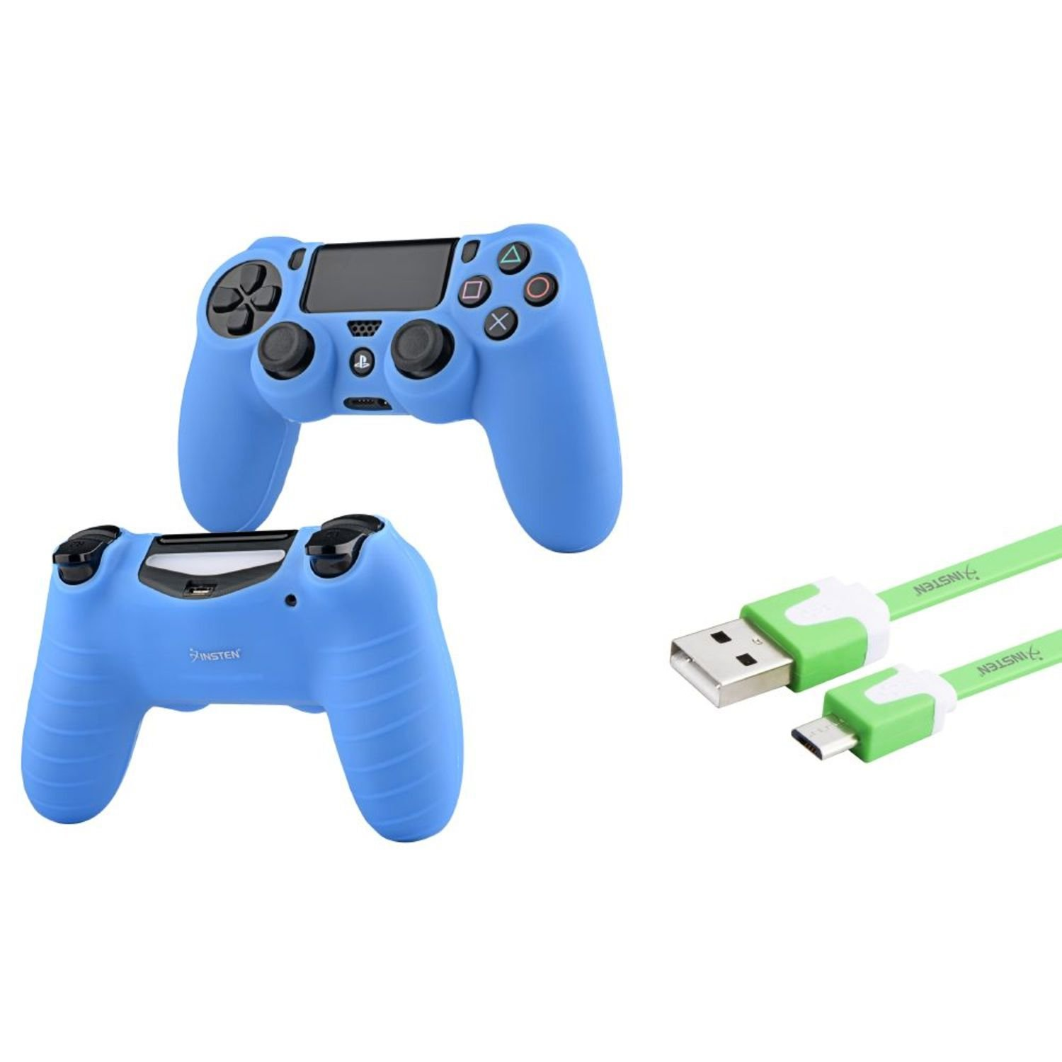 все цены на Insten® Green 3FT Micro USB Noodle Charger Cable + Blue Case Cover Compatible With Sony PS4 controller онлайн