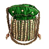 #5: Ruhi's Creations(TM) Elegant Jaipuri Heavy Work Potlis (Green)