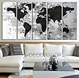 TANDA Extra Large Canvas Dark Grey World Map on Old white Bricked Wall 5 Panel Colorful Large Wall Art 80 Inch Total