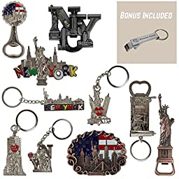 New York NYC Bundle Souvenir Metal Keychain And Metal Fridge Magnets 10 Pack, 5 Keychains 5 Magnates - Statue Of Liberty, USA Flag, Freedom Tower, Empire State Building, And More. - Bonus Included