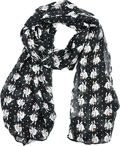 ladies-womens-colorful-long-soft-and-warm-bunny-rabbit-print-black-scarf