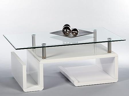 Couchtisch, Wohnzimmertisch Deep MDF Weiß Hochglanz, mit Glasplatte