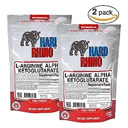 Hard Rhino L-Arginine Alpha Ketoglutarate (AAKG) Powder, 250 Grams (8.8 Oz), Unflavored, Lab-Tested, Scoop Included