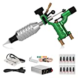 TANssential Dragonfly Rotary Tattoo Machine, Liner and Shader, Motor Gun Tattoo Kit Supplies with Needles, for Professional Tattoo Artists and Beginners, Light Weight (Green) (Color: Green)