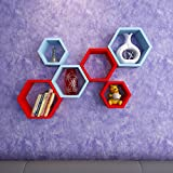DecorNation Wall Shelf Rack Set Of 6 Hexagon Shape Storage Wall Shelves For Home - Sky Blue & Red