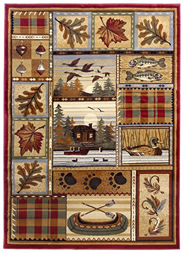 Rugs 4 Less Collection Wilderness Nature Themed Cabin
