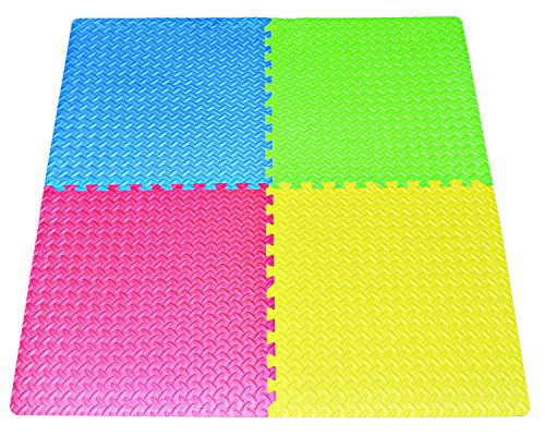 16-square-ft Multi-Color Exercise Mat Anti-fatigue Interlocking Puzzle EVA Foam Floor Cover 4-tile with 8-boarder by Poco Divo