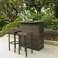 Crosley Furniture Palm Harbor 3 Piece Outdoor Wicker Bar Set by Crosley Furniture