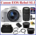 Canon EOS Rebel SL1 DSLR Camera [White] with EF-S 18-55mm f/3.5-5.6 IS STM with 4 Lenses Pro Bundle: Canon 75-300mm III EF Lens, 32GB SDHC Memory Card, Card Reader, Camera Bag, Telephoto & Wide Angle Lenses, Spare Battery, 58mm UV Protection Filters, Mini
