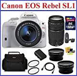 Canon EOS Rebel SL1 DSLR Camera [White] with EF-S 18-55mm f 3.5-5.6 IS STM with 4 Lenses Pro Bundle: Canon 75-300mm III EF Lens - 32GB SDHC Memory Card - Card Reader - Camera Bag - Telephoto & Wide Angle Lenses - Spare Battery - 58mm UV Protection Filters - Mini HDMI Cable and Lens Cleaning Kit