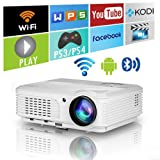 Home Wireless Bluetooth Projector HD HDMI Airplay Android Apps 3600 Lumens for iPhone Macbook iPad Laptop Phones Tablets PC DVD,Portable Smart WXGA 1280x800 LED LCD Movie Game Projector with Wifi (Color: 3600lumen Bluetooth WiFi Projector)