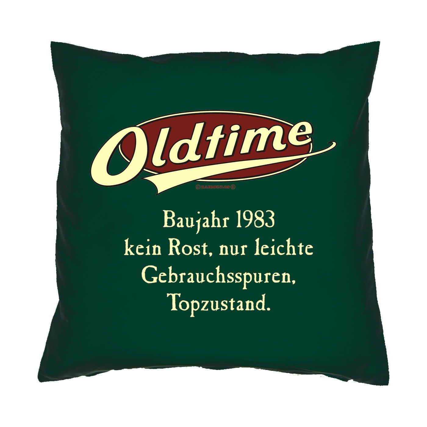 Kissen mit Innenkissen – OLDTIMER BAUJAHR 1983 – kein Rost, nur leichte Gebrauchsspuren, Topzustand. – zum 30. Geburtstag Geschenk – 40 x 40 cm – in dunkel-grün bestellen