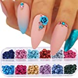 240pcs Nail Decorations Metal Flower 3d Roses 12 Colors DIY Jewel Charms Accessories Supplies