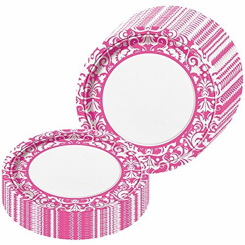Pink Damask Party Dinner Plates - 24 Pieces - 1