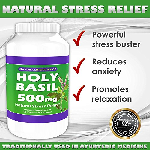 Holy Basil 500mg. 60 Vegetarian Capsules. Natural Stress Relief. (1)