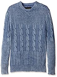 nANA jUDY Men's Cable Knit Sweater, Indigo Acid, L