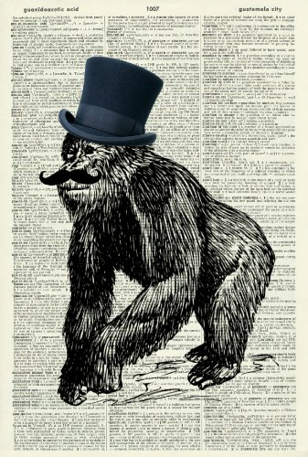 GORILLA WITH TOP HAT AND MOUSTACHE - Vintage Dictionary Art Print - Wall Hanging 336D
