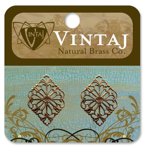 Vintaj 2-Piece Diamond Filigree for Connecting Jewelry, 15 by 21mm