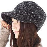 メランジキャスケット 帽子 大きいサイズ レディース キャスケット つば長 つば広 紫外線対策 UV 小顔効果 防寒対策 秋冬 【XLサイズ(58-61cm)-ブラック】