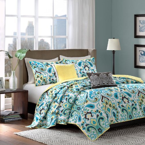 Teal Brown and Yellow Bedding Sets