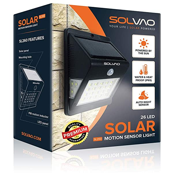 SOLVAO Solar Motion Detector Light (Upgraded) - 26 LED Dusk to Dawn Outside Light for House, Shed, Chicken Coop & RV - Brightest Solar Lights for Outd