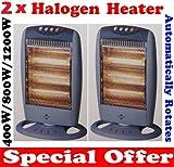 2 x Oscillating Halogen Portable Electric Heater 400W/800W/1200W Free Standing New