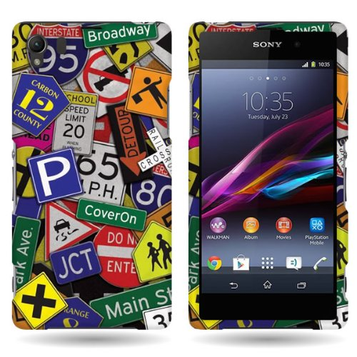 Coveron® Slim Hard Case For Sony Xperia Z1 With Cover Removal Tool - (Traffic Road Street Signs)