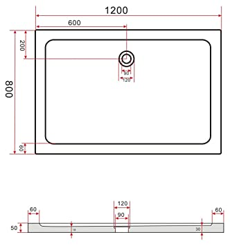 120x80 duschtasse duschwanne extra flach 50 mm rechteck schwarz db702. Black Bedroom Furniture Sets. Home Design Ideas