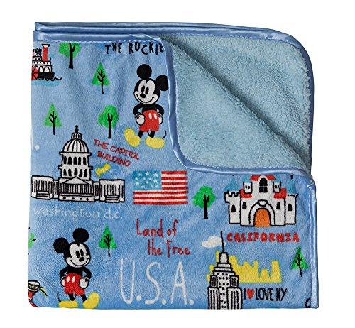 Disney Mickey Mouse Sherpa and Mink Us Cities Printed Blanket, Blue