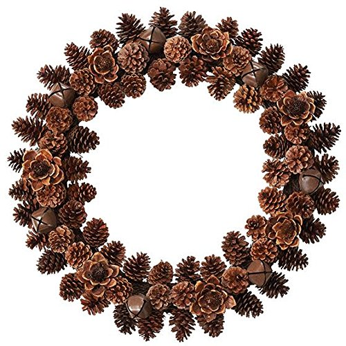 "Pinecone And Wood Flower Wreath, 3""Hx26"" DIAMETER, BROWN"