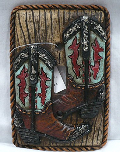 Western Turquoise Boot Toggle Light Switch Wall Cover Plate Receptical Electrical (Western Electrical Covers compare prices)