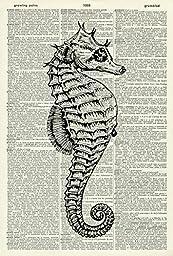 Bathroom Art Print - SEAHORSE - Vintage Dictionary Art Print - Wall Hanging 212D