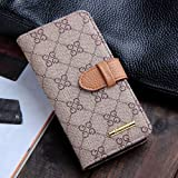 New Version Luxury Classic Beige GG Patterned Leather Cases Flip Covers Wallet for Apple iPhone 5 5G 5S for Men Women Girls High Quality Vintage Retro Chic Style Reviews