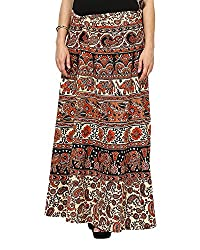 Soundarya Women's Cotton Long Wrap Skirt(RS6003, 38, Beige)