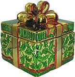Hand Painted Metallic Christmas Gift Box Cookie Jar