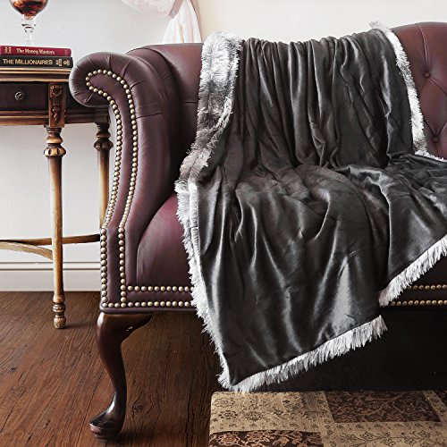 Faux Fur Mink Reversible Throw-