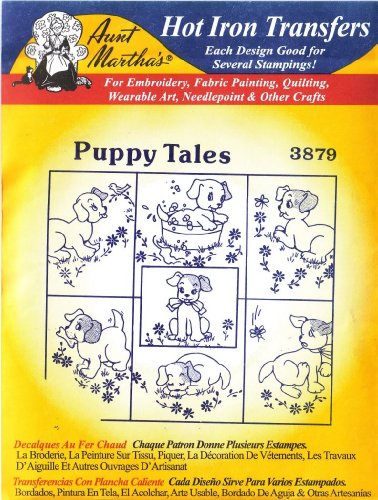 Puppy Tales Aunt Martha'S Hot Iron Embroidery Transfer front-86690
