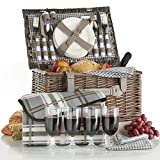 Search : VonShef Deluxe 4 Person Traditional Wicker Picnic Basket Hamper with Cutlery, Plates, Glasses, Tableware & Fleece Blanket - Grey Gingham