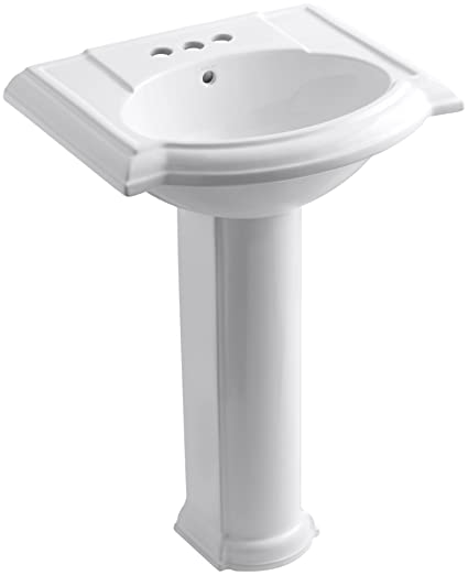 "KOHLER K-2286-4-0 Devonshire Pedestal Bathroom Sink with 4"" Centers, White"