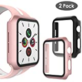 WD&CD Case Compatible with Apple Watch Series 5 Series 4 44mm, Built-in Ultra Thin HD Tempered Glass Screen Protector Overall Protective Cover Replacement for iwatch Series 5/4, Black & Rose Gold (Color: Black & Rose Gold)