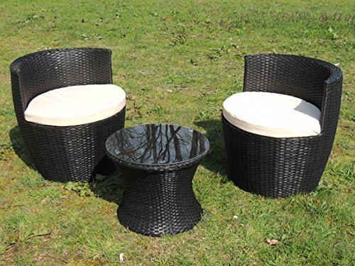 3er Set Mobili da giardino Sguardo rattan antracite / braun Salotto in giardino per balcone - Antracite